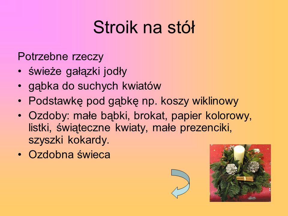 Stroik na stół Potrzebne rzeczy świeże gałązki jodły gąbka do suchych kwiatów Podstawkę pod gąbkę np. koszy wiklinowy Ozdoby: małe bąbki, brokat, papi