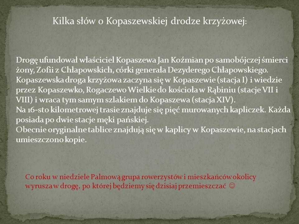 Kilka słów o Kopaszewskiej drodze krzyżowej : Drogę ufundował właściciel Kopaszewa Jan Koźmian po samobójczej śmierci żony, Zofii z Chłapowskich, córki generała Dezyderego Chłapowskiego.