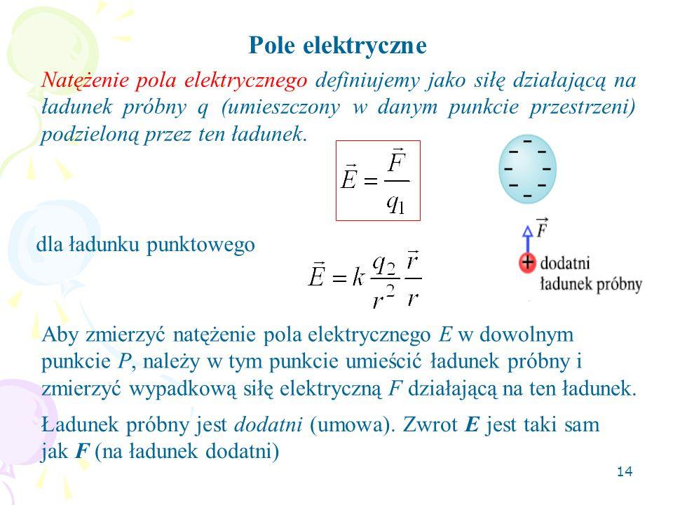 14 Pole elektryczne Natężenie pola elektrycznego definiujemy jako siłę działającą na ładunek próbny q (umieszczony w danym punkcie przestrzeni) podzie