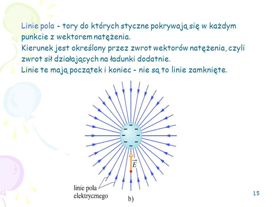 15 Linie pola - tory do których styczne pokrywają się w każdym punkcie z wektorem natężenia. Kierunek jest określony przez zwrot wektorów natężenia, c