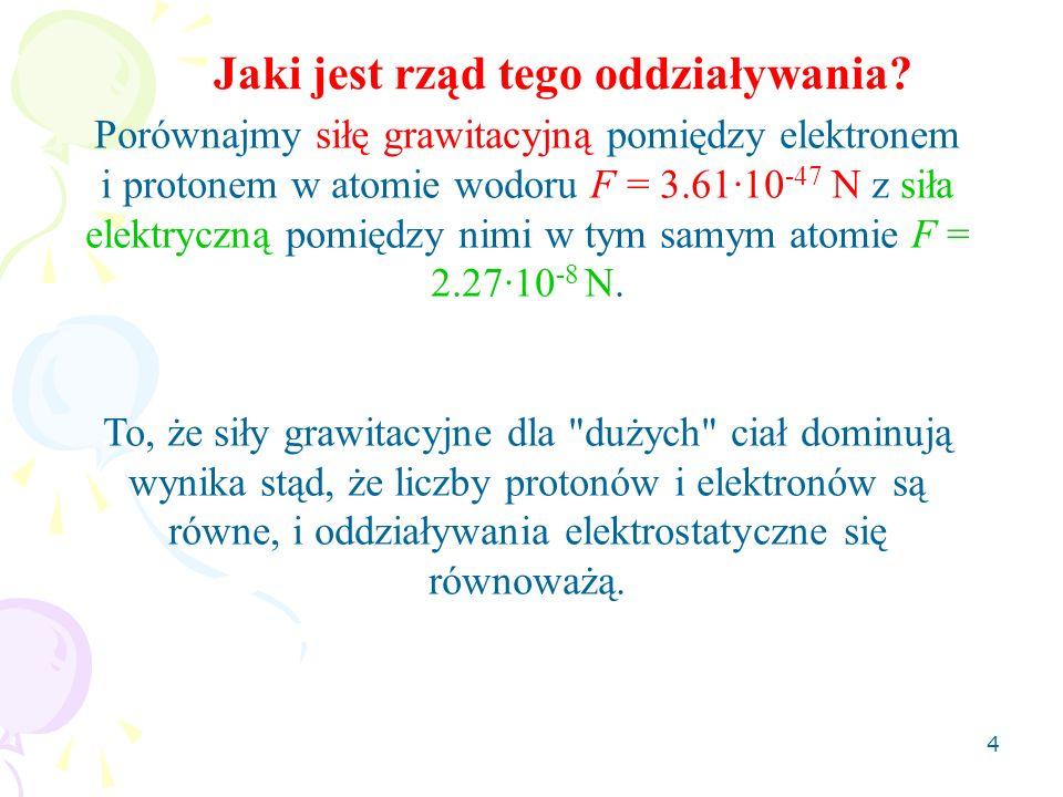 4 Jaki jest rząd tego oddziaływania? Porównajmy siłę grawitacyjną pomiędzy elektronem i protonem w atomie wodoru F = 3.61·10 -47 N z siła elektryczną