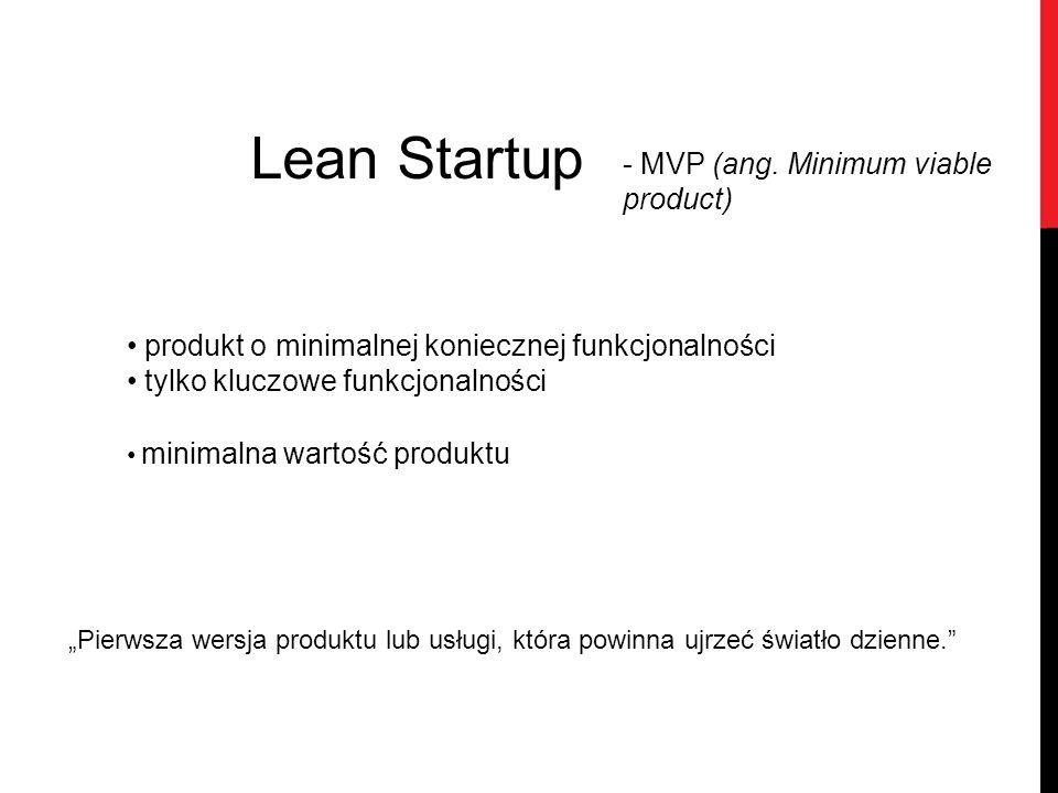 Lean Startup produkt o minimalnej koniecznej funkcjonalności tylko kluczowe funkcjonalności minimalna wartość produktu - MVP (ang. Minimum viable prod
