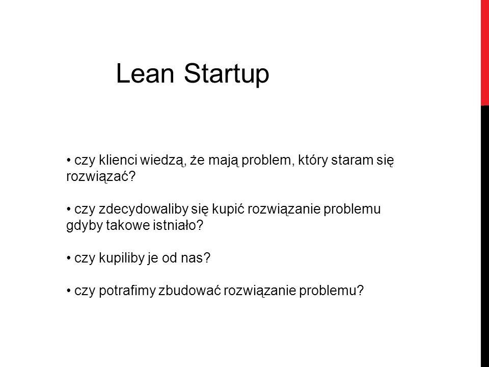 Lean Startup czy klienci wiedzą, że mają problem, który staram się rozwiązać? czy zdecydowaliby się kupić rozwiązanie problemu gdyby takowe istniało?