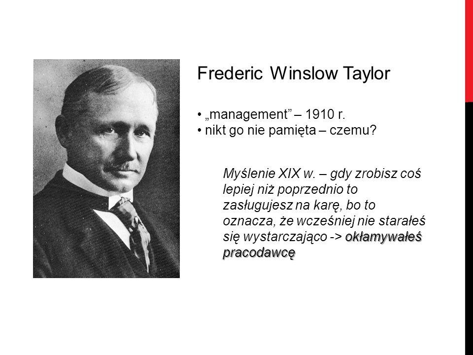 """Frederic Winslow Taylor """"management"""" – 1910 r. nikt go nie pamięta – czemu? okłamywałeś pracodawcę Myślenie XIX w. – gdy zrobisz coś lepiej niż poprze"""