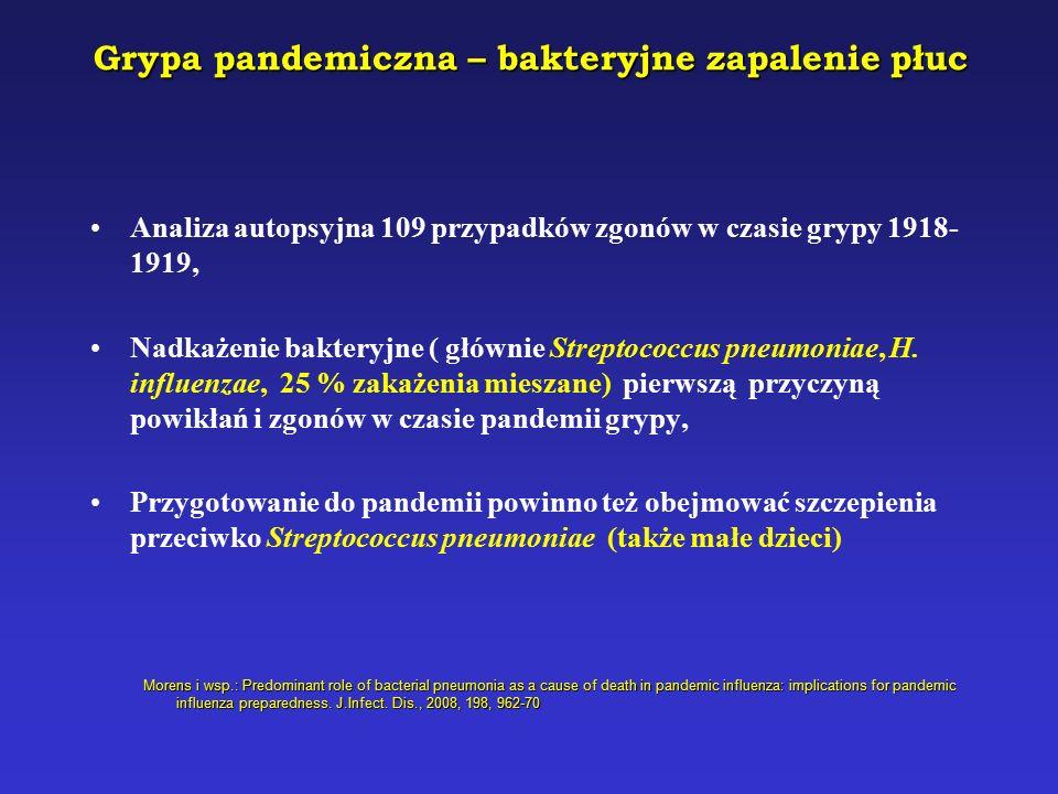 Grypa pandemiczna – bakteryjne zapalenie płuc Analiza autopsyjna 109 przypadków zgonów w czasie grypy 1918- 1919, Nadkażenie bakteryjne ( głównie Streptococcus pneumoniae, H.