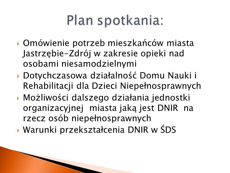  Omówienie potrzeb mieszkańców miasta Jastrzębie-Zdrój w zakresie opieki nad osobami niesamodzielnymi  Dotychczasowa działalność Domu Nauki i Rehabi