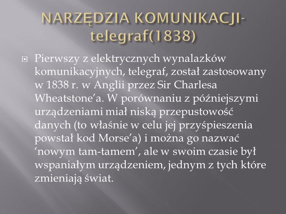  Pierwszy z elektrycznych wynalazków komunikacyjnych, telegraf, został zastosowany w 1838 r. w Anglii przez Sir Charlesa Wheatstone'a. W porównaniu z