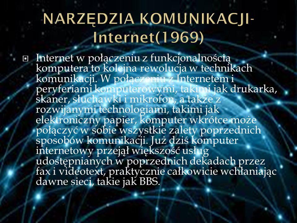  Internet w połączeniu z funkcjonalnością komputera to kolejna rewolucja w technikach komunikacji. W połączeniu z Internetem i peryferiami komputerow