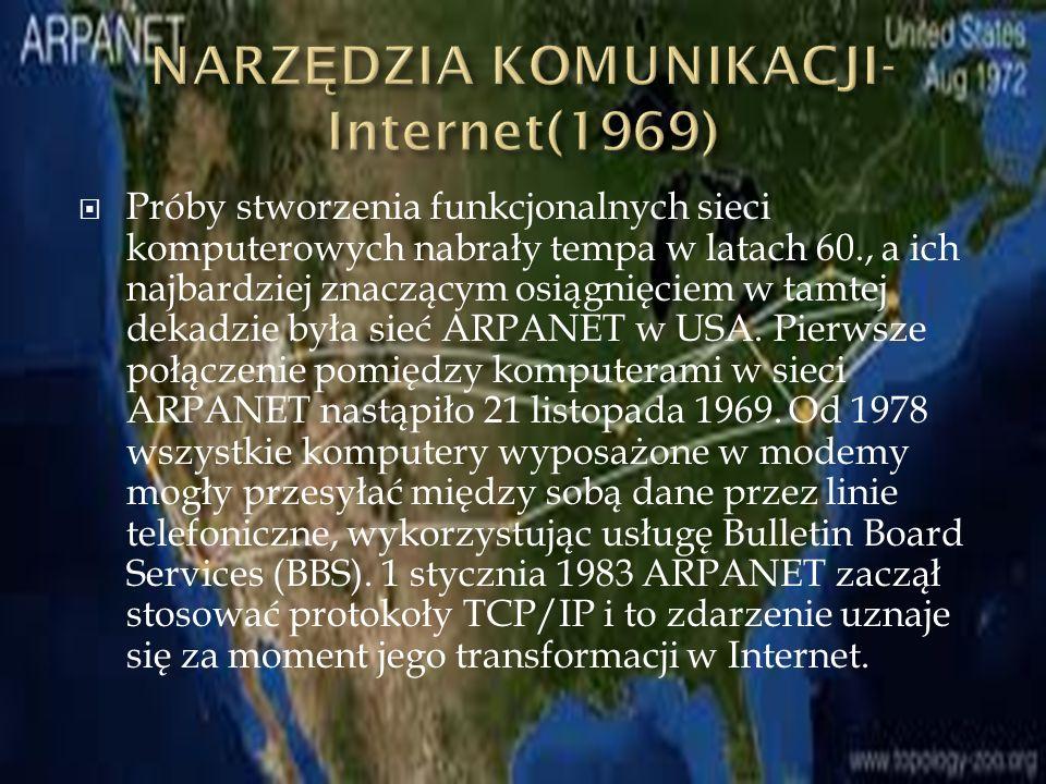  Próby stworzenia funkcjonalnych sieci komputerowych nabrały tempa w latach 60., a ich najbardziej znaczącym osiągnięciem w tamtej dekadzie była sieć ARPANET w USA.