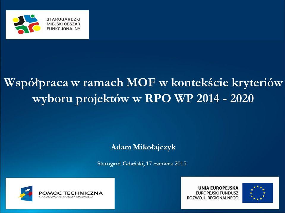 Zintegrowane Inwestycje Terytorialne (ZIT) dla Obszaru Metropolitalnego Trójmiasta (z PZPW) nie wydzielono odrębnej Osi Priorytetowej dla ZIT projekty muszą spełnić kryteria Programu wydzielono alokacje w większości Osi Zintegrowane Porozumienia Terytorialne (ZPT) dla miejskich obszarów funkcjonalnych (MOF, z PZPW) reprezentacja MOF musi mieć charakter wielosektorowy efektem negocjacji będzie spójny pakiet przedsięwzięć rozwojowych projekty muszą spełnić kryteria Programu nie wydzielono alokacji, ale wskazano preferencje w większości Osi Narzędzia terytorialne w RPO WP Regulacje UE i krajowe (Umowa Partnerstwa) Regulacje regionalne (SRWP, RPS)