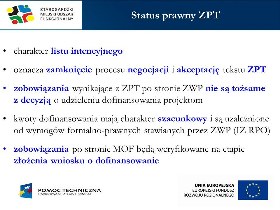 1.Dotyczące preferencji dla projektów adresowanych do RPO WP zobowiązanie ZWP do przyznania maksymalnej liczby punktów w trzech kryteriach oceny strategicznej: 1) profil projektu, 2) potrzeba realizacji, 3) odziaływanie projektu 2.Dotyczące potencjalnego udziału podmiotów z MOF w przedsięwzięciach strategicznych SWP (RPS) 3.Dotyczące projektów z udziałem podmiotów z MOF ubiegających się o dofinansowanie z krajowych PO Kategorie zobowiązań w ZPT