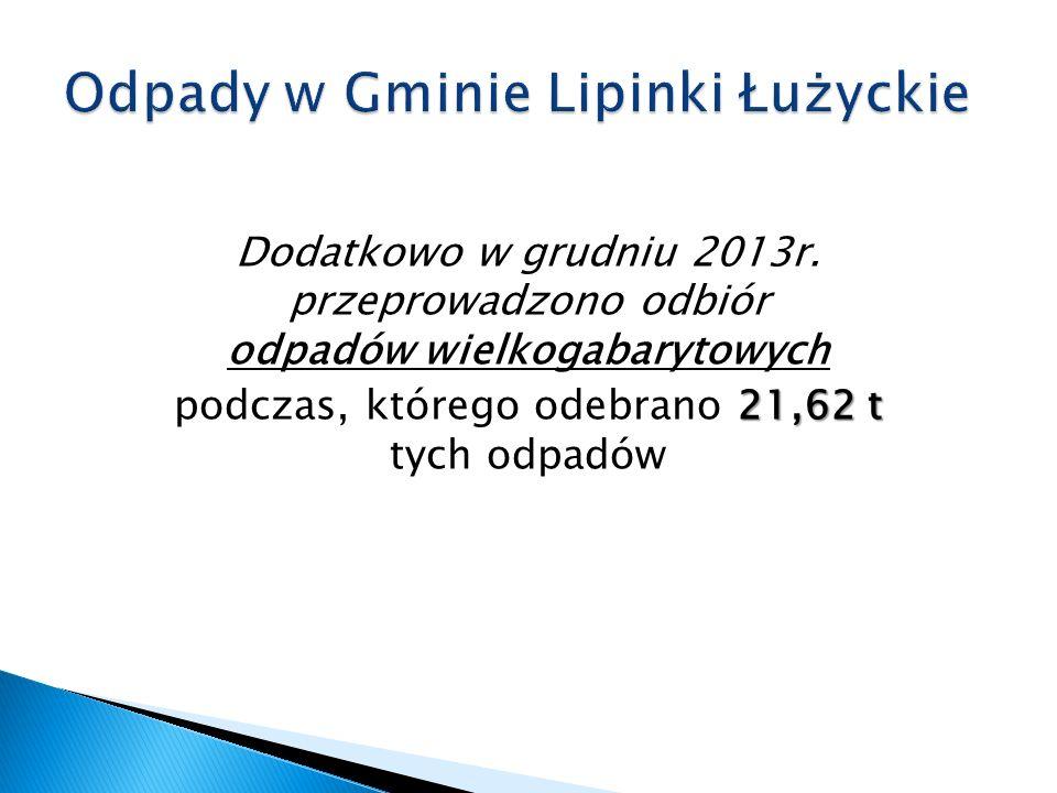 Dodatkowo w grudniu 2013r. przeprowadzono odbiór odpadów wielkogabarytowych 21,62 t podczas, którego odebrano 21,62 t tych odpadów
