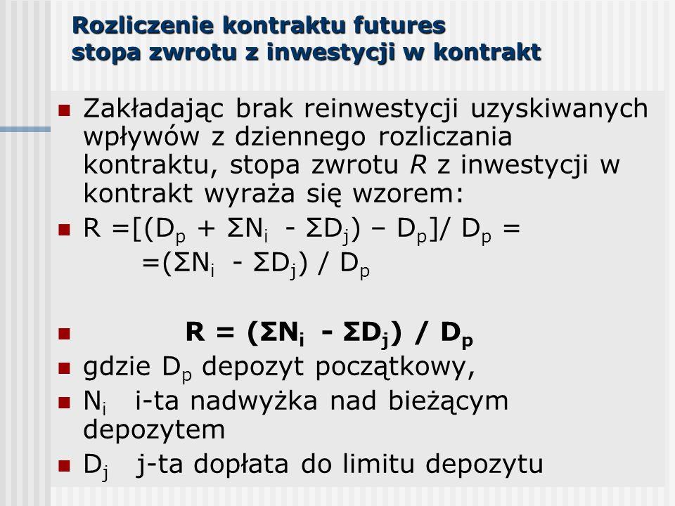 Rozliczenie kontraktu futures stopa zwrotu z inwestycji w kontrakt Zakładając brak reinwestycji uzyskiwanych wpływów z dziennego rozliczania kontraktu, stopa zwrotu R z inwestycji w kontrakt wyraża się wzorem: R =[(D p + ΣN i - ΣD j ) – D p ]/ D p = =(ΣN i - ΣD j ) / D p R = (ΣN i - ΣD j ) / D p gdzie D p depozyt początkowy, N i i-ta nadwyżka nad bieżącym depozytem D j j-ta dopłata do limitu depozytu
