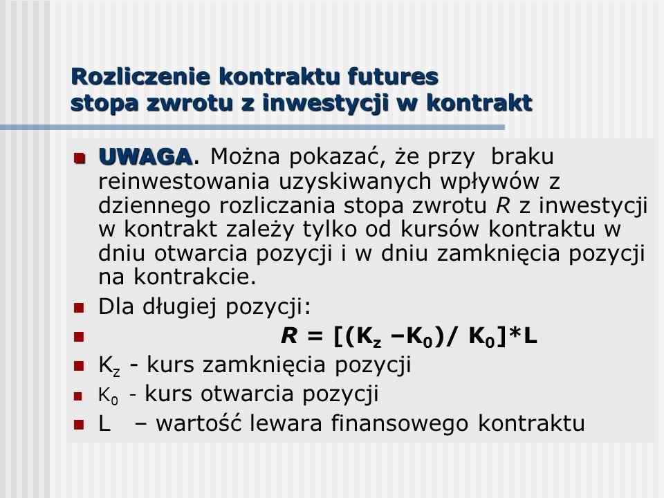 Rozliczenie kontraktu futures stopa zwrotu z inwestycji w kontrakt UWAGA UWAGA. Można pokazać, że przy braku reinwestowania uzyskiwanych wpływów z dzi