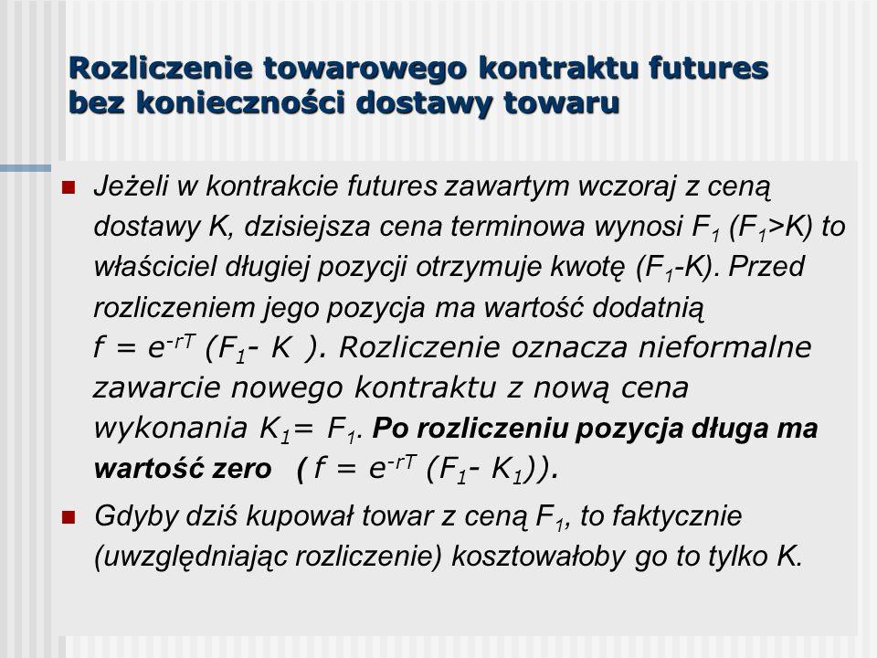Rozliczenie towarowego kontraktu futures bez konieczności dostawy towaru Jeżeli w kontrakcie futures zawartym wczoraj z ceną dostawy K, dzisiejsza cena terminowa wynosi F 1 (F 1 >K) to właściciel długiej pozycji otrzymuje kwotę (F 1 -K).