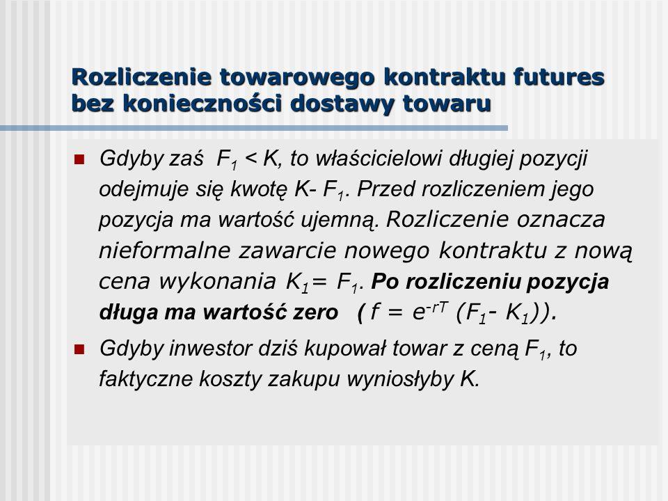 Rozliczenie towarowego kontraktu futures bez konieczności dostawy towaru Gdyby zaś F 1 < K, to właścicielowi długiej pozycji odejmuje się kwotę K- F 1