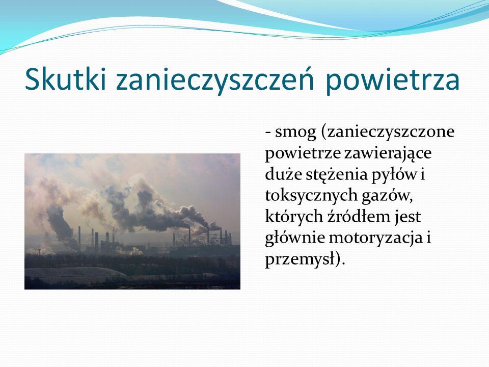 Skutki zanieczyszczeń powietrza - smog (zanieczyszczone powietrze zawierające duże stężenia pyłów i toksycznych gazów, których źródłem jest głównie mo