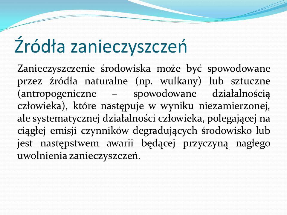 Skutki zanieczyszczeń powietrza - dziura ozonowa (największe znaczenie mają w tym procesie związki chlorofluorowęglowe (freony), z których uwolniony chlor (pod wpływem promieniowania ultrafioletowego) atakuje cząsteczki ozonu, prowadząc do wyzwolenia tlenu (O2) oraz tlenku chloru(II) (ClO).