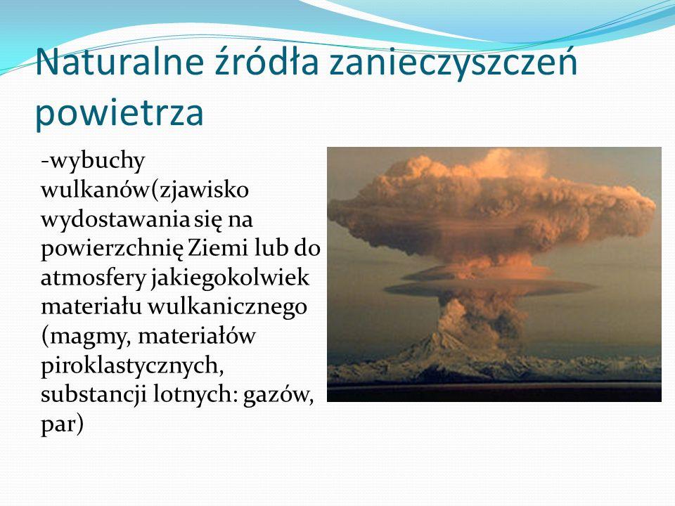 Naturalne źródła zanieczyszczeń powietrza -wybuchy wulkanów(zjawisko wydostawania się na powierzchnię Ziemi lub do atmosfery jakiegokolwiek materiału