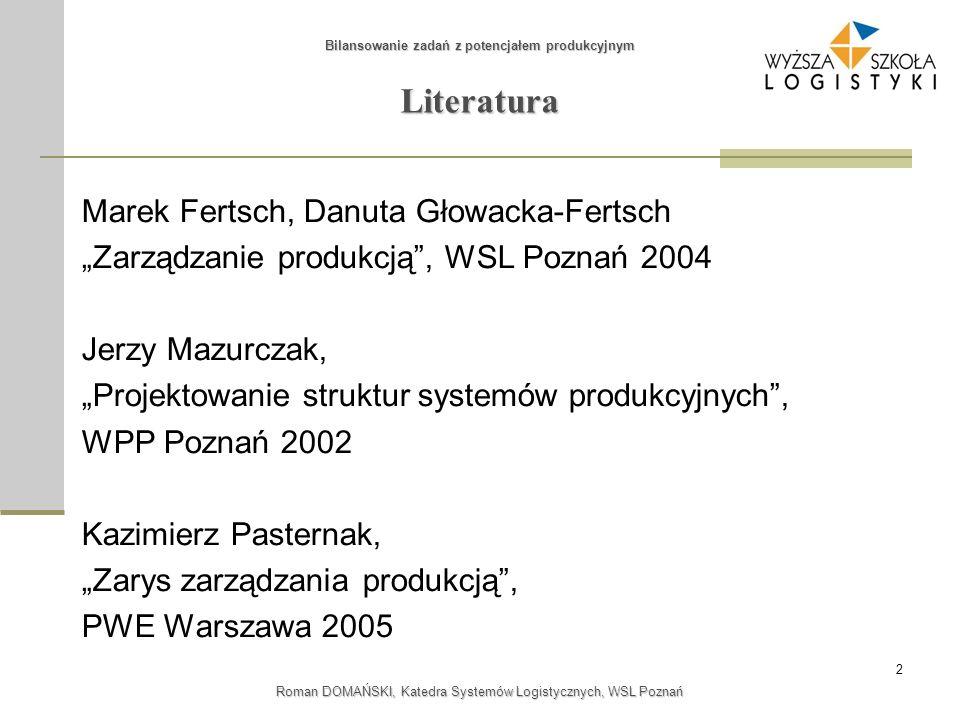 2 Bilansowanie zadań z potencjałem produkcyjnym Roman DOMAŃSKI, Katedra Systemów Logistycznych, WSL Poznań Literatura Marek Fertsch, Danuta Głowacka-F