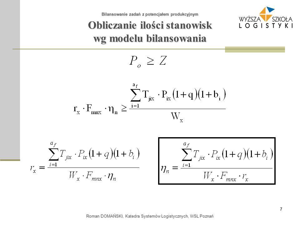 88 Roman DOMAŃSKI, Katedra Systemów Logistycznych, WSL Poznań Zadanie 3 Bilansowanie - przekrojowe Bilansowanie zadań z potencjałem produkcyjnym Obliczyć współczynnik wykorzystania potencjału dla danych: P(A) = 3000 szt/mc; P(B) = 1500 szt/mc; P(C) = 4000 szt/mc; q = 0,05; F = 168 gr/mc przy z = 1.