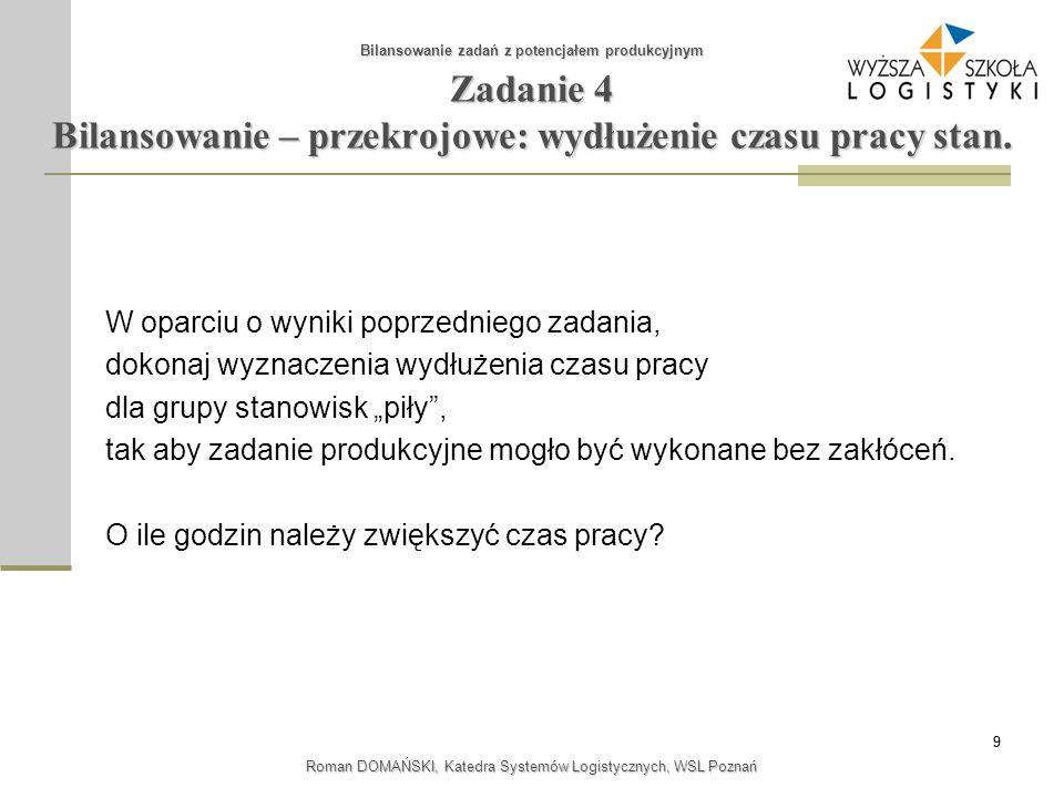 10 Roman DOMAŃSKI, Katedra Systemów Logistycznych, WSL Poznań Zadanie 5 Bilansowanie - wyrywkowe Bilansowanie zadań z potencjałem produkcyjnym Firma posiada 4 tokarki, 3 frezarki i 2 szlifierki.