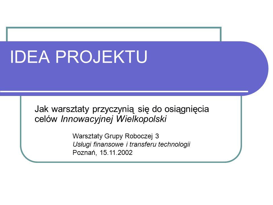 IDEA PROJEKTU Jak warsztaty przyczynią się do osiągnięcia celów Innowacyjnej Wielkopolski Warsztaty Grupy Roboczej 3 Usługi finansowe i transferu technologii Poznań, 15.11.2002
