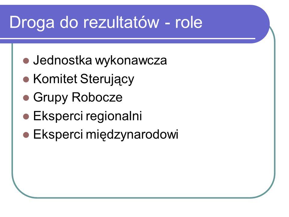 Droga do rezultatów - role Jednostka wykonawcza Komitet Sterujący Grupy Robocze Eksperci regionalni Eksperci międzynarodowi