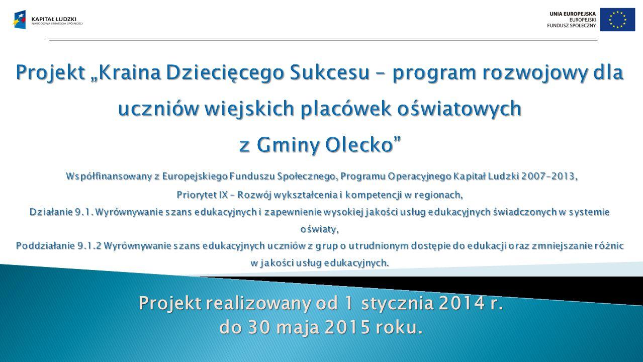 Projekt realizowany od 1 stycznia 2014 r. do 30 maja 2015 roku.