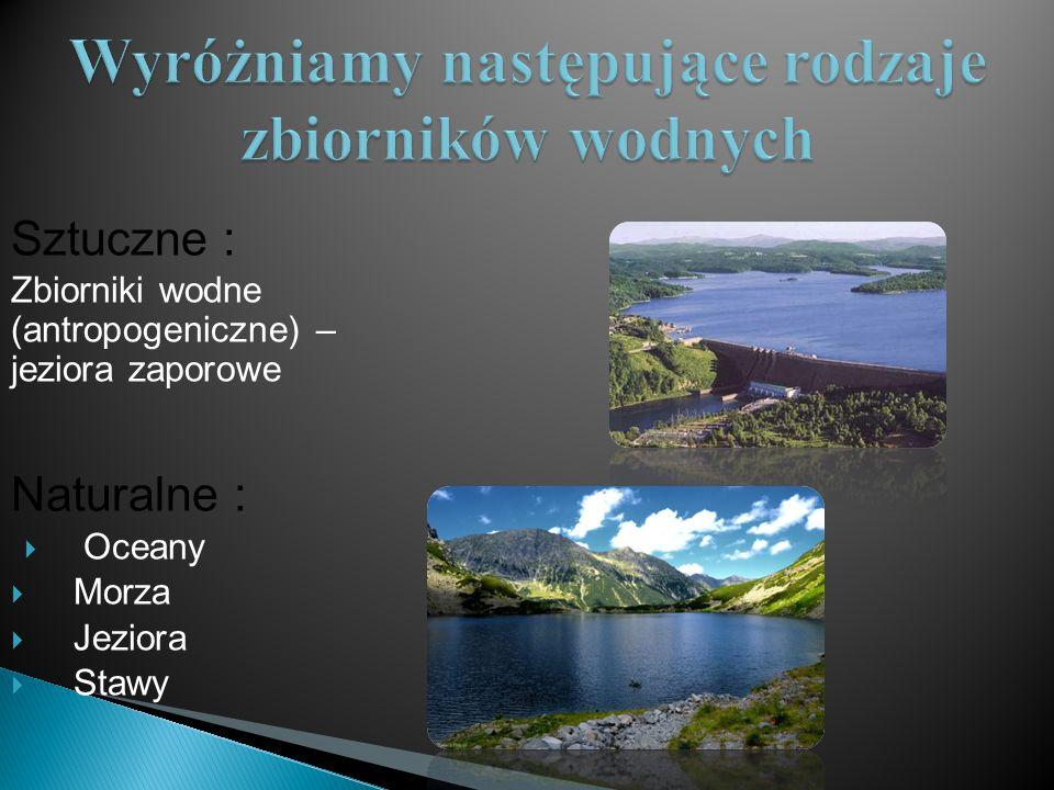 Sztuczne : Zbiorniki wodne (antropogeniczne) – jeziora zaporowe Naturalne :  Oceany  Morza  Jeziora  Stawy