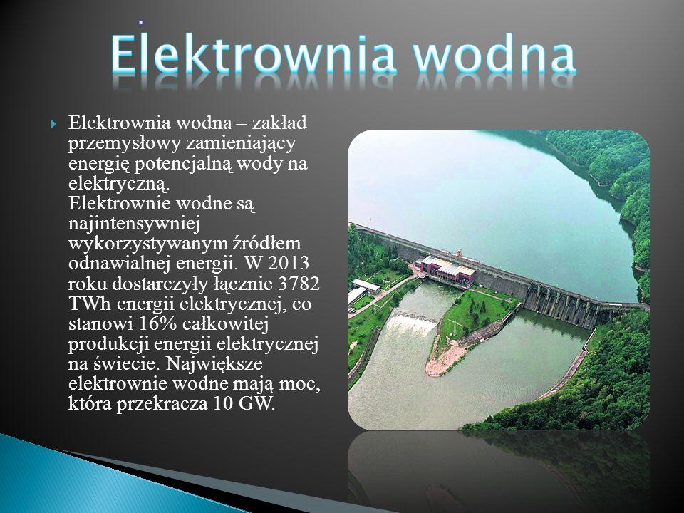  Elektrownia wodna – zakład przemysłowy zamieniający energię potencjalną wody na elektryczną. Elektrownie wodne są najintensywniej wykorzystywanym źr