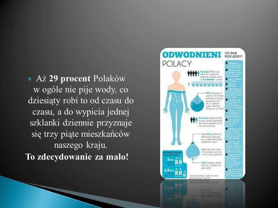  Aż 29 procent Polaków w ogóle nie pije wody, co dziesiąty robi to od czasu do czasu, a do wypicia jednej szklanki dziennie przyznaje się trzy piąte