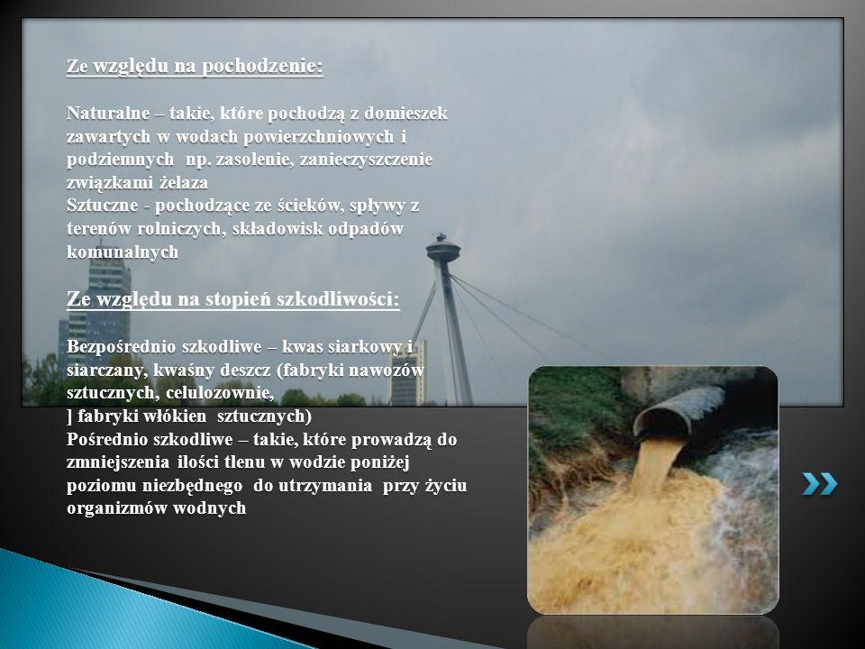Ze względu na pochodzenie: Naturalne – takie, pochodzą z domieszek zawartych w wodach powierzchniowych i podziemnych np. zasolenie, zanieczyszczenie z