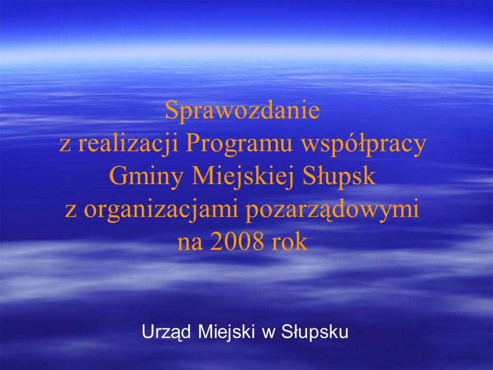 Sprawozdanie z realizacji Programu współpracy Gminy Miejskiej Słupsk z organizacjami pozarządowymi na 2008 rok Urząd Miejski w Słupsku