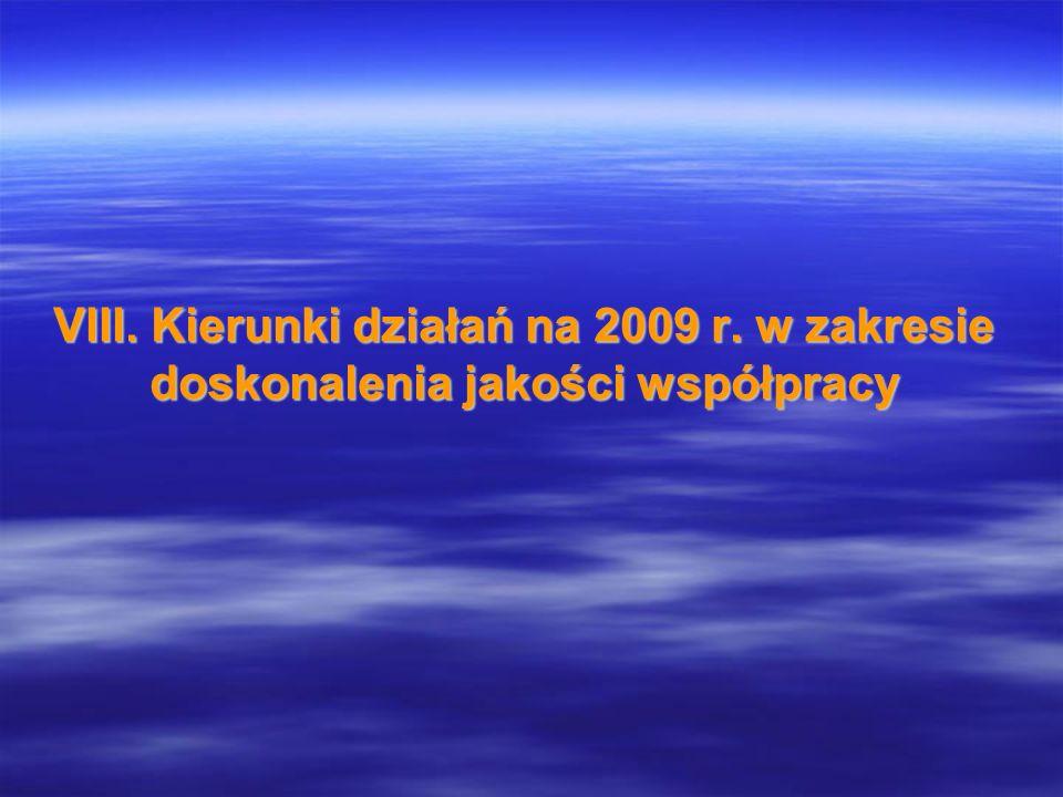 VIII. Kierunki działań na 2009 r. w zakresie doskonalenia jakości współpracy