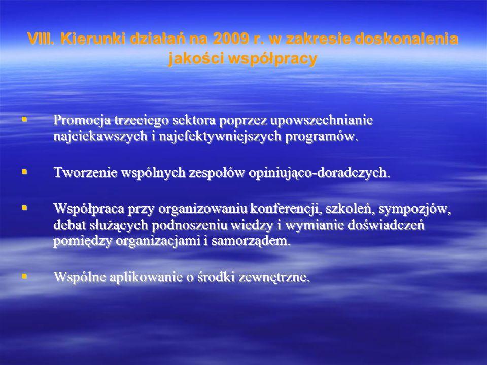 VIII. Kierunki działań na 2009 r.