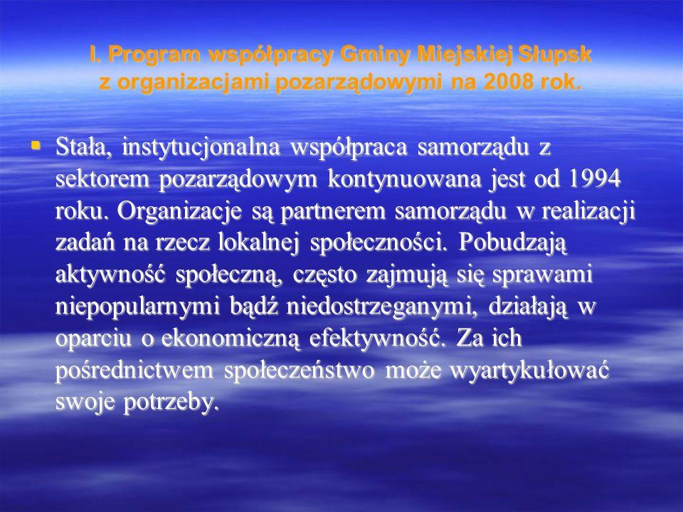 I. Program współpracy Gminy Miejskiej Słupsk z organizacjami pozarządowymi na 2008 rok.