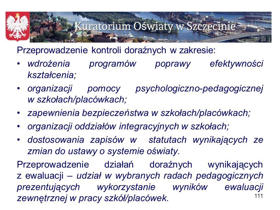 Przeprowadzenie kontroli doraźnych w zakresie: wdrożenia programów poprawy efektywności kształcenia; organizacji pomocy psychologiczno-pedagogicznej w