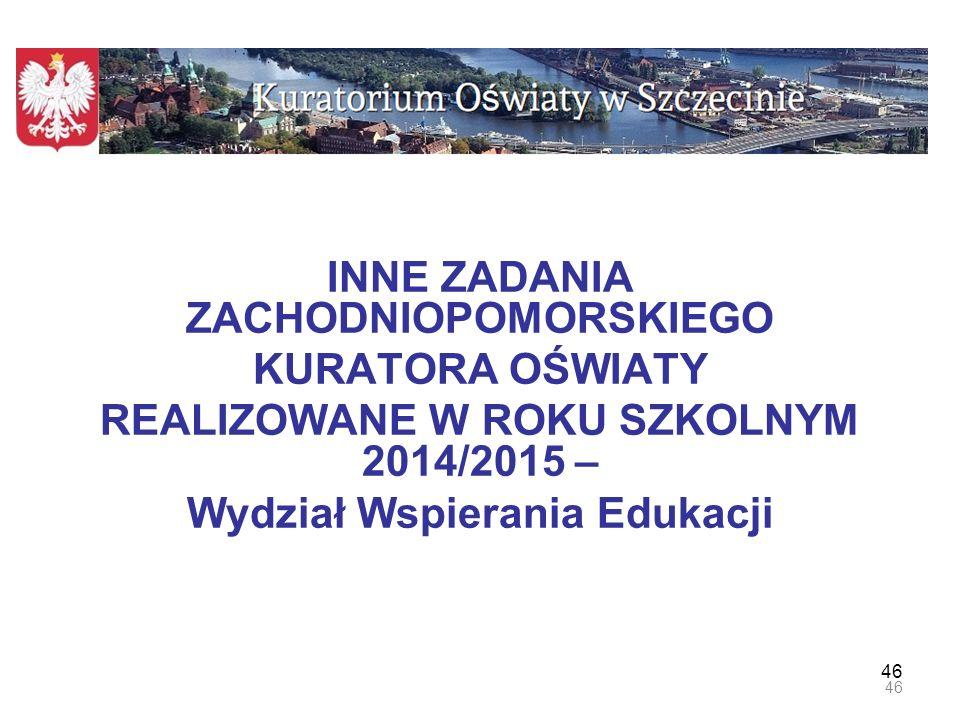 47 PROGRAM PROJAKOŚCIOWY realizowany we współpracy z Regionalnym Ośrodkiem Polityki Społecznej Urzędu Marszałkowskiego i lokalnymi ośrodkami pomocy społecznej Program obejmuje: 39 szkół (w tym 27 szkół podstawowych i 12 gimnazjów) położonych na terenach 6 powiatów o najwyższym Wskaźniku Alienacji Społecznej (WAS) Zadania zrealizowane: 1.Zorganizowano 6 debat powiatowych z udziałem organów prowadzących nt.