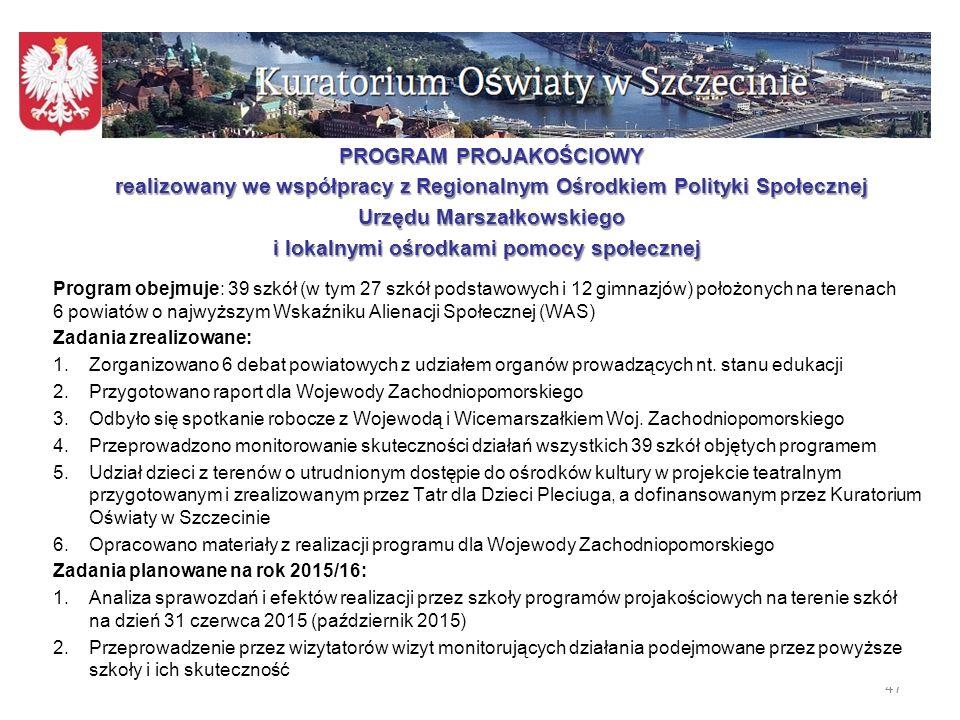 Programy poprawy efektywności kształcenia zlecone przez Zachodniopomorskiego Kuratora Oświaty w r.