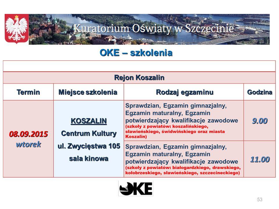 54 OKE - szkolenia W 18 szkołach woj.
