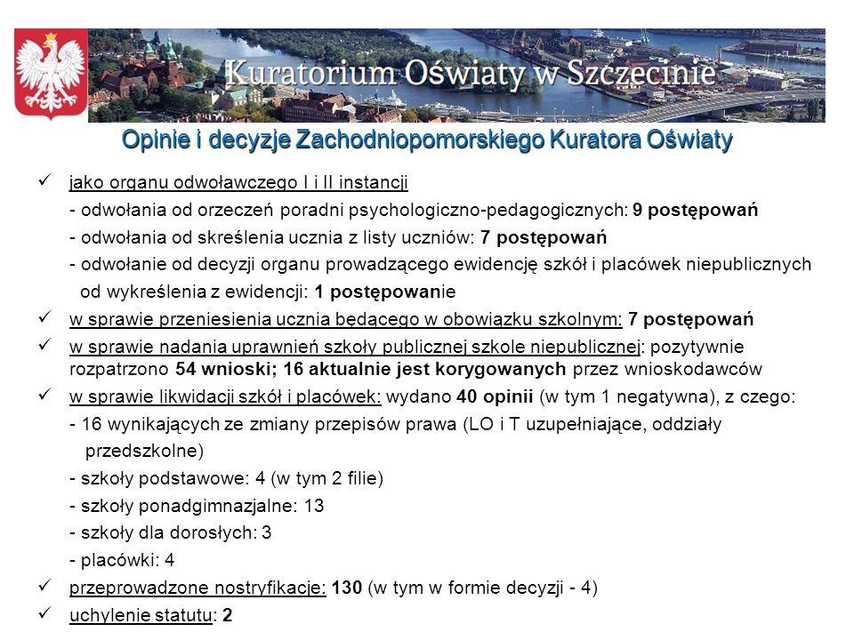 Wypoczynek dzieci i młodzieży w województwie zachodniopomorskim Liczba form wypoczynku zarejestrowanych przez organizatorów z woj.