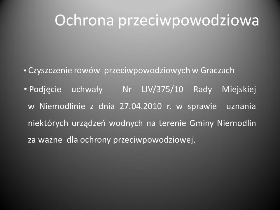 Ochrona przeciwpowodziowa Czyszczenie rowów przeciwpowodziowych w Graczach Podjęcie uchwały Nr LIV/375/10 Rady Miejskiej w Niemodlinie z dnia 27.04.2010 r.