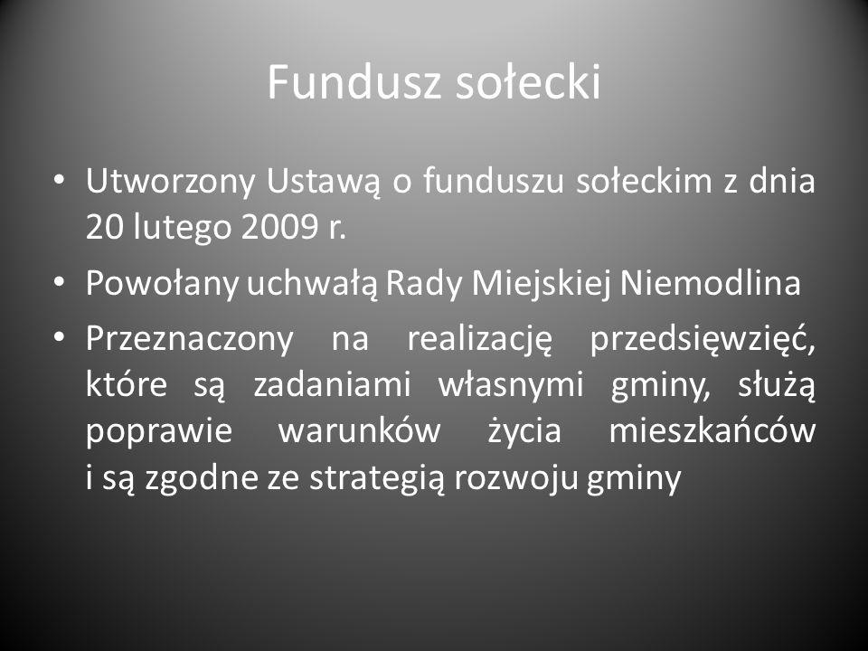 Fundusz sołecki Utworzony Ustawą o funduszu sołeckim z dnia 20 lutego 2009 r.