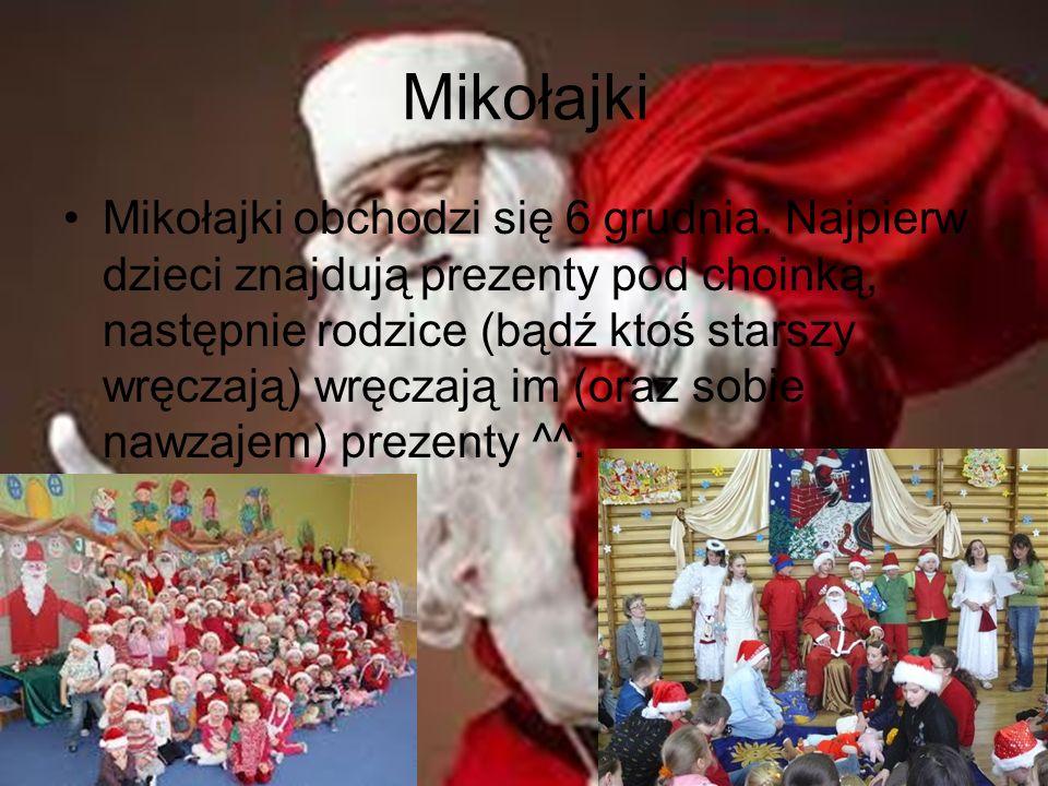 Mikołajki Mikołajki obchodzi się 6 grudnia. Najpierw dzieci znajdują prezenty pod choinką, następnie rodzice (bądź ktoś starszy wręczają) wręczają im