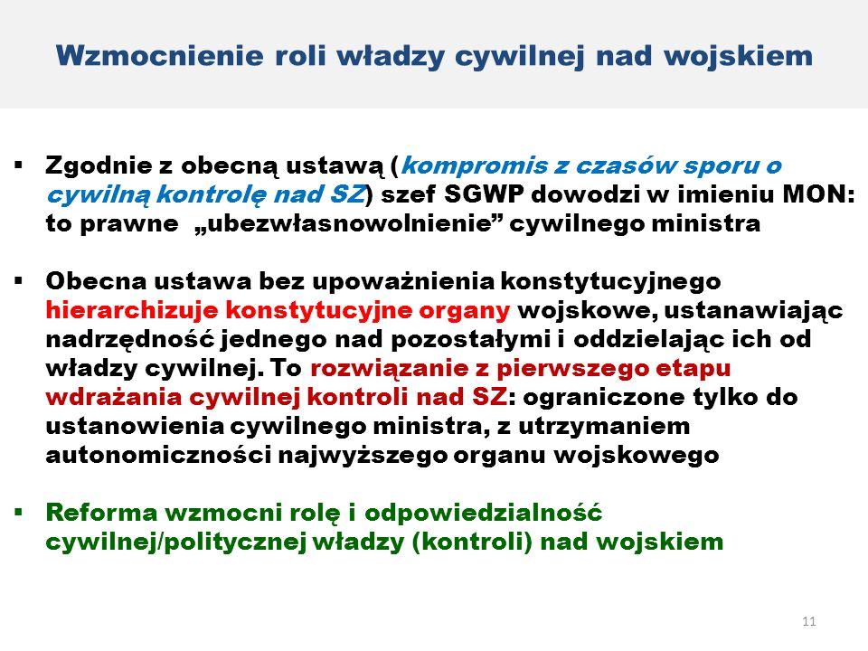 Wzmocnienie roli władzy cywilnej nad wojskiem  Zgodnie z obecną ustawą (kompromis z czasów sporu o cywilną kontrolę nad SZ) szef SGWP dowodzi w imien