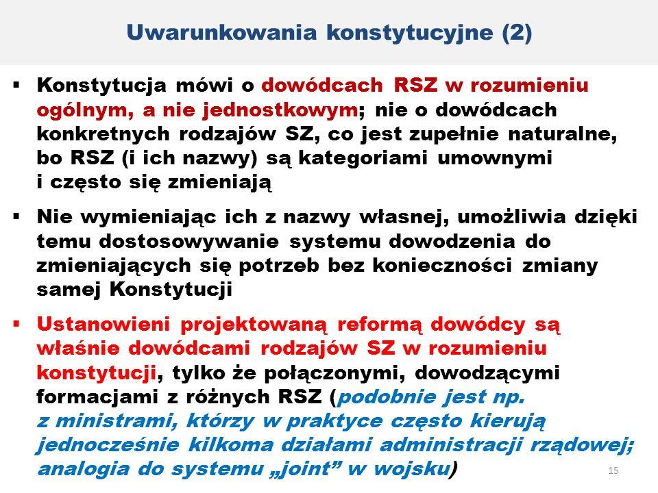 Uwarunkowania konstytucyjne (2)  Konstytucja mówi o dowódcach RSZ w rozumieniu ogólnym, a nie jednostkowym; nie o dowódcach konkretnych rodzajów SZ,