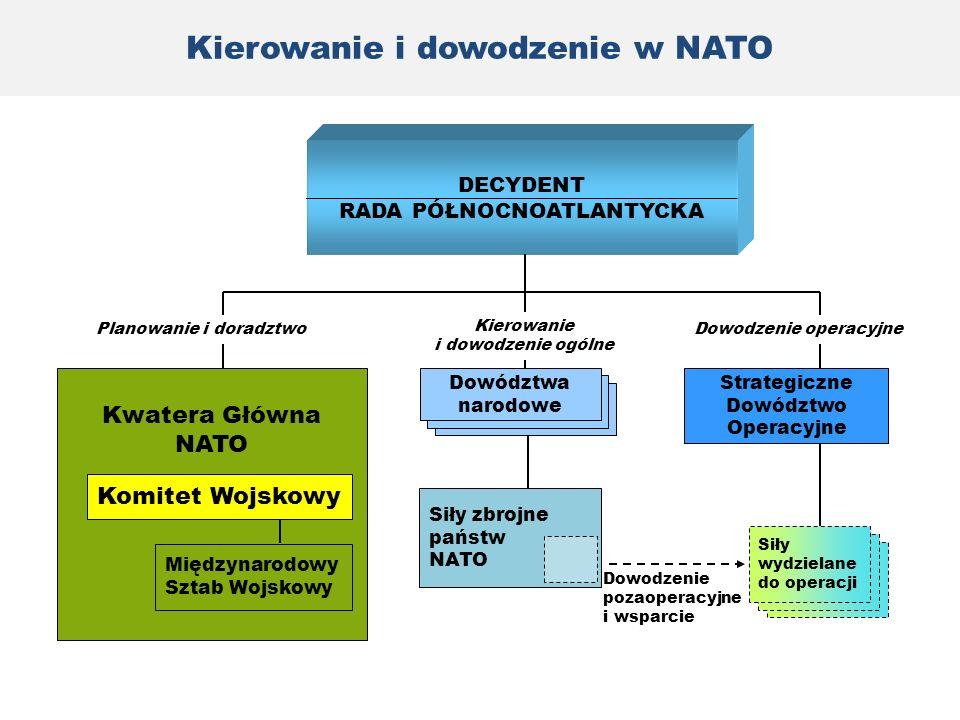 Siły zbrojne państw NATO DECYDENT RADA PÓŁNOCNOATLANTYCKA Kwatera Główna NATO Komitet Wojskowy Międzynarodowy Sztab Wojskowy Dowództwa narodowe Strate