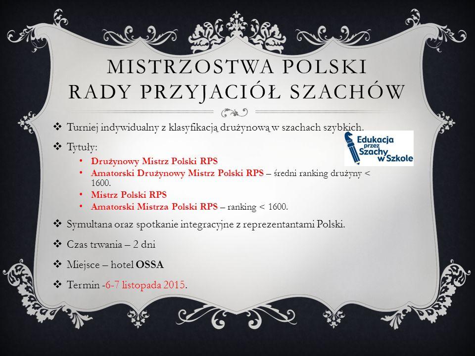 MISTRZOSTWA POLSKI RADY PRZYJACIÓŁ SZACHÓW  Turniej indywidualny z klasyfikacją drużynową w szachach szybkich.  Tytuły: Drużynowy Mistrz Polski RPS