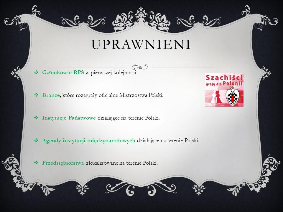 UPRAWNIENI  Członkowie RPS w pierwszej kolejności  Branże, które rozegrały oficjalne Mistrzostwa Polski.  Instytucje Państwowe działające na tereni